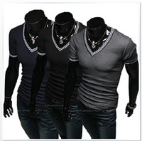 Wholesale HOT Men T Shirts Embroidery Cotton Lycra Small V collar Slim Short sleeve T shirt