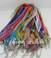 al por mayor cable de cinta de collares al por mayor-El cordón de seda del collar de la gasa de la cinta del organza del color de la mezcla 100pcs al por mayor enceró el cordón del collar
