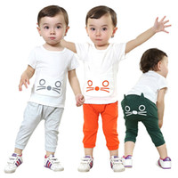 Boy Summer Short 4set lot -2pcs baby clothing suits- 2014 Summer new baby suits - boys baby cat T-shirt + pants - baby leisure suit