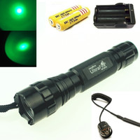 Wholesale Ultrafire B led Cree XPE mode green red blue light led hunting flashlight kit battery charger tactical remote