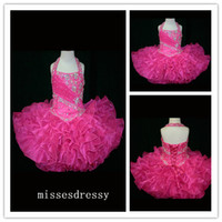 Wholesale 2014 Custom Made Halter Top Little Rosie Cupcake Girl s Pageant Dresses Lovely Little Rosie Hot Pink Glitz Toddler Party Dresses
