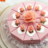 Wholesale 2014 DIY Pink Rose Flower with Custom Made Card Cake Style Candy Boxes Cardboard Wedding Favor Holder Gift Box sets a