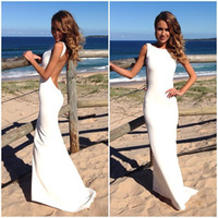 Sheath/Column Reference Images Bateau 2014 Backless Beach Wedding Dresses Vintage Bateau Neckline White Summer Wedding Gowns Sexy Evening Dresses Spandex Tight Maxi Dresses
