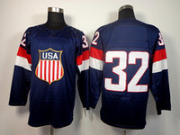 Ice Hockey Men Full USA 2014 Olympic Jerseys Team USA#32 Quick Navy Blue Hockey Jerseys for Men 2014 Olympic and Paralympic Winter Games Popular Sportswear