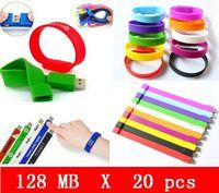 20pcs X 128mb vente en gros de silicone Wristbands USB Flash Pen Drive USB 2.0 HOT ventes de haute qualité! OEM service Brand New Genuine Capacital