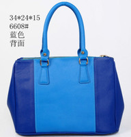 Wholesale New popular Stitching blue color zipper bag women totes bag handbags