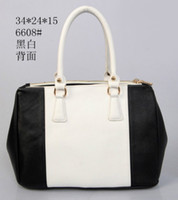 Wholesale Stitching black and white color zipper bag women totes bag handbags