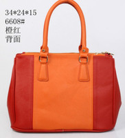 Wholesale New styling Stitching orange color zipper bag women totes bag handbags