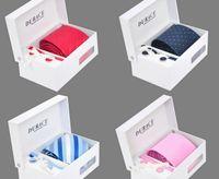 Wholesale Mens Neck Tie Set With Ties Clips Tie Pins Handkerchief Gift Box white Bags Set x80CM Neck Tie