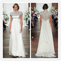 Wholesale QM Glamorous Spring New Designer Maternity Wedding Gowns High Neck Cap Sleeve Beads EmpireChiffon Summer Jenny Packham Bridal Dresses