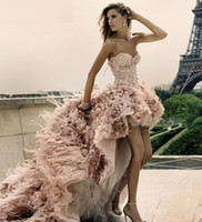 Wholesale Zuhair Murad Beach High low Prom Dresses Newest Short Front Long Back Wedding Dress Feather Lace Up A Line Corset Handmade Custom made