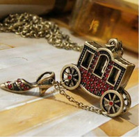 Beaded Necklaces Women's Fashion 20pcs lot Free shipping Small wagon crystal shoe sweater chain necklace