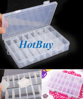 Wholesale 24 Grid Nail Tip Storage Box Plastic False Clear Compartment Jewelry Store Box