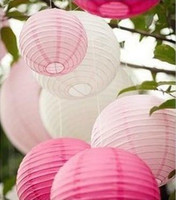 Ballon and Lantern   72pcs Mixed 2 Sizes 3 Colors Chinese Paper Lanterns with Led Lights Wedding Party Prom Decoration