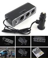 Wholesale 3 Ways Car Charger Cigarette Lighter Plug V Socket Adaptor USB Supply Triple Socket Charger for Cellphones IPOD IPHONE