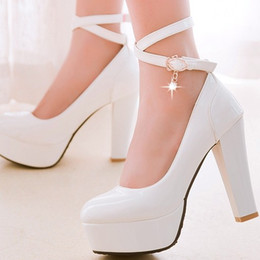 Wholesale New Women s High Heel cm Waterproof Shoes diamond wedding shoes woman party girls sexy thick heel high heels shoe PU upper lady White shoe