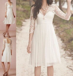 Wholesale Artistic White Beach Wedding Dresses Lace Applique A Line V Neckline Long Sleeves Knee Length Chiffon Bridal Gowns Unique Made