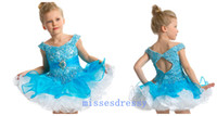 Wholesale High Quality Charming Cupcake Style Applique Sleeveless Girl s Pageant Dresses Mini Sky Blue Little V neck Girl Birthday Party Dresses