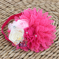 Wholesale New Arrival Baby girl flower headband soft lace flower and satin rose flower with Rhinestones headbands hair Accessories