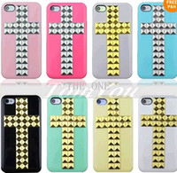 Plastic pyramid studs - New Arrived Punk Handmade DIY Cross Pyramid Stud Studs Rivet Hard Back Cover Case For iphone S S DHL Free