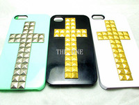 Plastic pyramid studs - Luxury Bling Rhinestone Punk Handmade Cross Crafts Metal Rivets Studs Pyramid Hard Back Cover Skin studded Case For iphone5 G S DHL Free