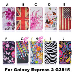 Wholesale Fashion Flower UK US Flag Zebra Wallet PU Flip Leather Case Cover With Card Slots Stand Holder For Samsung Galaxy Express G3815