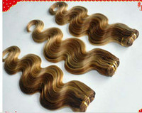 """Chinese Hair Natural Wave  Oxette Fashion Ombre Highlighted Color #27 30 Virgin Brazilian Human Hair Weave Loose Body Wave 12""""-30"""" Mixed Length High Quality 4 bundles"""