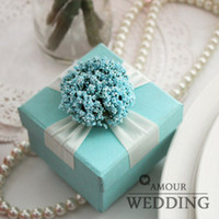 Favor Boxes Blue Paper Ocean Style Lavender Blue Flower with White Ribbon Candy Boxes Square Cardboard Wedding Favor Holder Party Gift Box 80