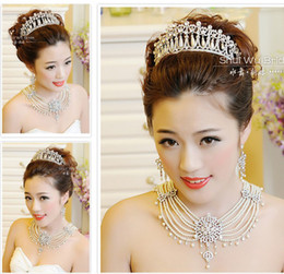 Wholesale 2014 Elements Wedding Accessories Bridal Jewelry Sets Return To The Ancients Crown Necklace Earrings