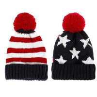 Wholesale Men Women Boy Girl US American Country Flag Patriotic Knit Beanie Crochet Rib Pom Pom Hat Cap Warm Blue amp Red AFH020