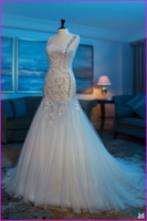 Trumpet/Mermaid Real Photos Strapless Real Model Thin Straps Appliques Sequins Sheath Mermaid Luxury Tulle Lace Up Beadings Floor Length Wedding Dresses Free Shipping Bridal Gown