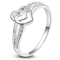 Cluster Rings South American Women's 2014 New rings Factory price 925 sterling Silver fashion charm girl gift Austrian CZ Crystal Beautiful Cute pretty Heart love ring jewelry