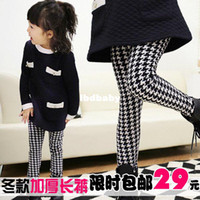 Casual Pants Unisex Spring / Autumn Female child legging autumn and winter plus velvet thickening legging child baby boot cut jeans children's clothing thermal