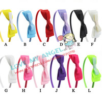Wholesale Trail order girl satin covered Grosgrain Ribbon flowers headwear satin ribbon hair bow headbands hair accessory