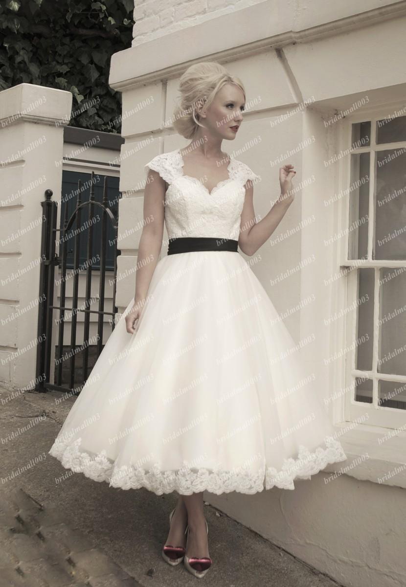Classic Wedding Dresses Short : Discount classic short bridal dress tea length a line