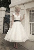 Wholesale 2014 Classic Short Tea Length A Line Open Back Keyhole Satin Sash Plus Size Black And White Wedding Dress With Sleeves No Train ZH030607
