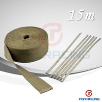 """Titanium Lava Fiber + 6 pcs Ties   22""""x 50' Premium Exhaust Heat Wrap Manifold Wrap Titanium Lava Fiber + 6 pcs Ties"""