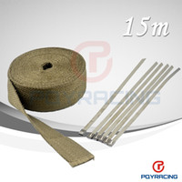"Titanium Lava Fiber + 6 pcs Ties   PQY STORE- 2""x 50' Premium Exhaust Heat Wrap Manifold Wrap Titanium Lava Fiber Thermal Heat Wrap+ 6 pcs Ties new item"