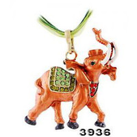 Wholesale Asian Elephant Shape Alloy Pendant Necklace Mix Color Rhinestone Inlaid Jewelry W32365Y66