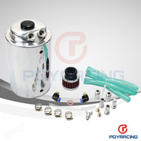 Wholesale 2L LITRE ALUMINIUM POLISHED ROUND OIL CATCH CAN TANK WITH BREATHER FILTER PQY TK01