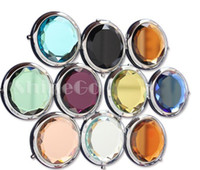 Wholesale 50 New Arrivals Cosmetic Compact Mirrors Crystal Magnifying Multi Color Make Up Makeup Tools Mirror Wedding Gift DHL