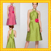 Reference Images Hand Made Flower Sleeveless 2014 Short Multi Color Lime Green Bridesmaid Dresses with Red Flower Waist Halter Backless Stylish Fashion Cheap Bridal Party Gowns Under 90
