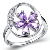 Cluster Rings Asian & East Indian Unisex Top quality 925 sterling Silver fashion noble Amethyst Austrian CZ Crystal Beautiful Cute Wedding pretty lady lovely ring jewelry J336