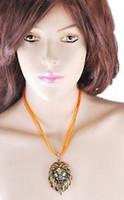 Wholesale Mix Color Vintage Alloy Jewelry Lion Head Shape Charming Pendant Necklace W32900Y66