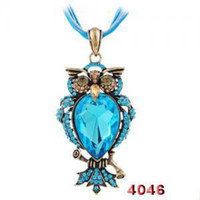 Wholesale Mix Color Owl Shape Alloy Pendant Necklace Copper Plated Rope Strung Jewelry W32898Y66