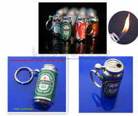 beer can lighter - 50pcs New Novelty Beer Can Keyrin MINI Zip top Can Shape Electronic Flame Cigarette Lighter With Keychain Butance Gas Lovely Lighter