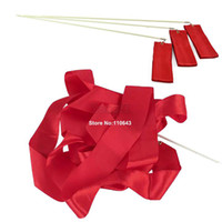 Wholesale 4PCS Red Gym Dance Ribbon Rhythmic Art Gymnastic Streamer Baton Twirling Rod M TK0820