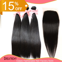 Wholesale Brazilian Malaysian Peruvian Indian Virgin Hair Silky Straight Hair Weft PC Human Hair Closure X4 With Hair Piece Natural Color