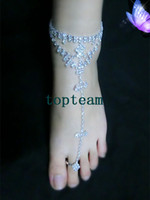 Wholesale women jewelry beach barefoot dandals white princess jewelry crystal stretch anklet chain with toe ring