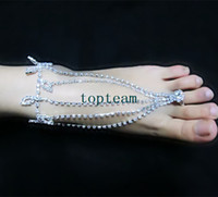 Wholesale women jewelry beach barefoot dandals white princess jewelry crystal stretch anklet chain with toe ring EMS FREE TO AUS